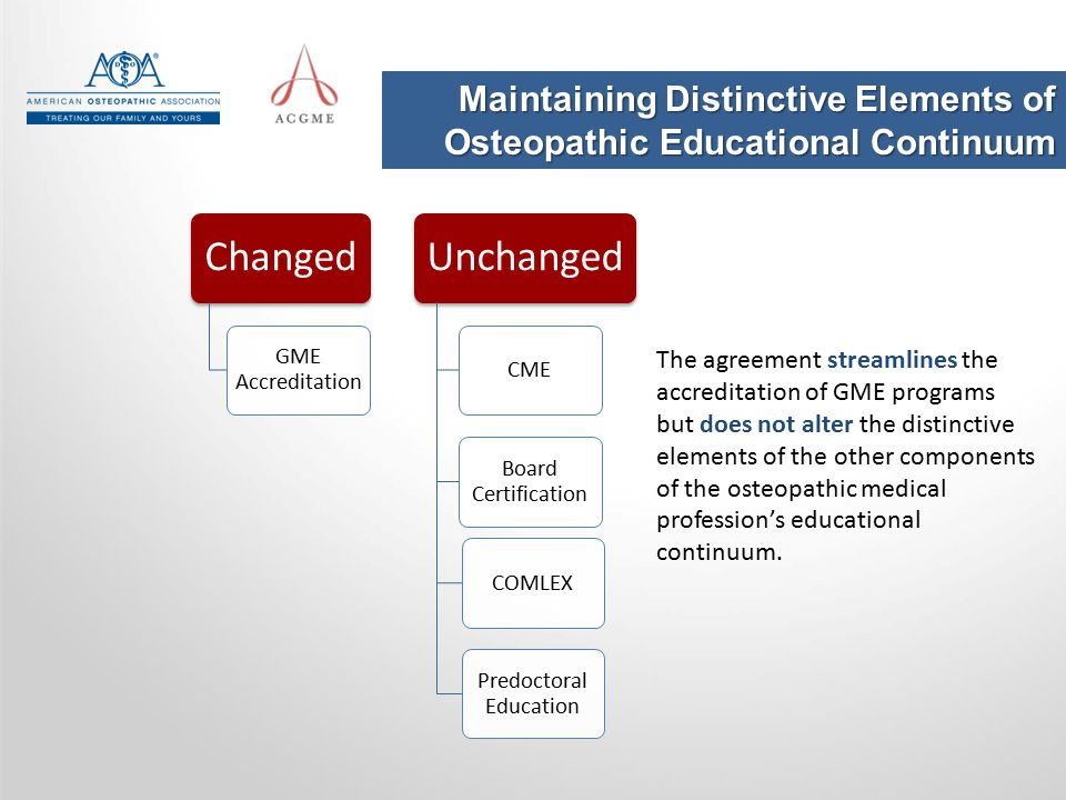Changed GME Accreditation Unchanged CME Board Certification Predoctoral Education COMLEX The agreement streamlines the accreditation of GME programs b