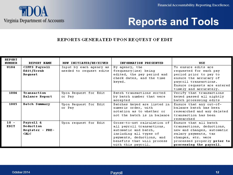 Reports and Tools October 2014 Payroll 12