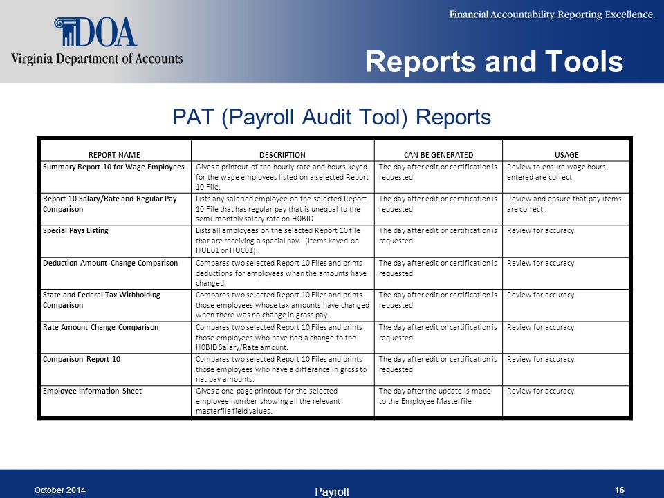 Reports and Tools October 2014 Payroll 16 REPORT NAMEDESCRIPTIONCAN BE GENERATEDUSAGE Summary Report 10 for Wage EmployeesGives a printout of the hourly rate and hours keyed for the wage employees listed on a selected Report 10 File.