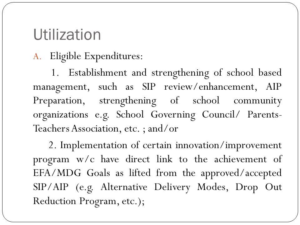 Utilization A.Eligible Expenditures: 1.