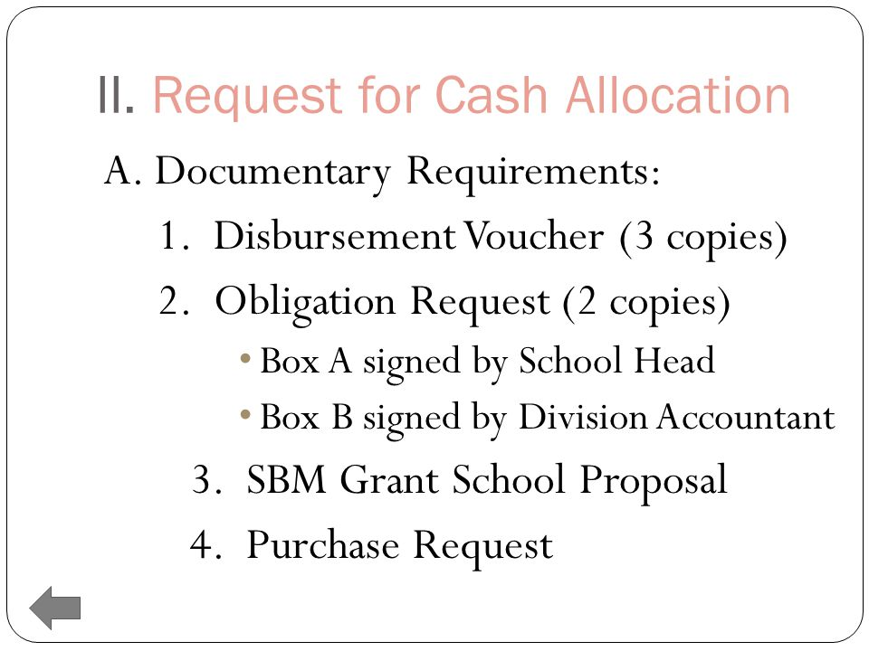 II.Request for Cash Allocation A. Documentary Requirements: 1.