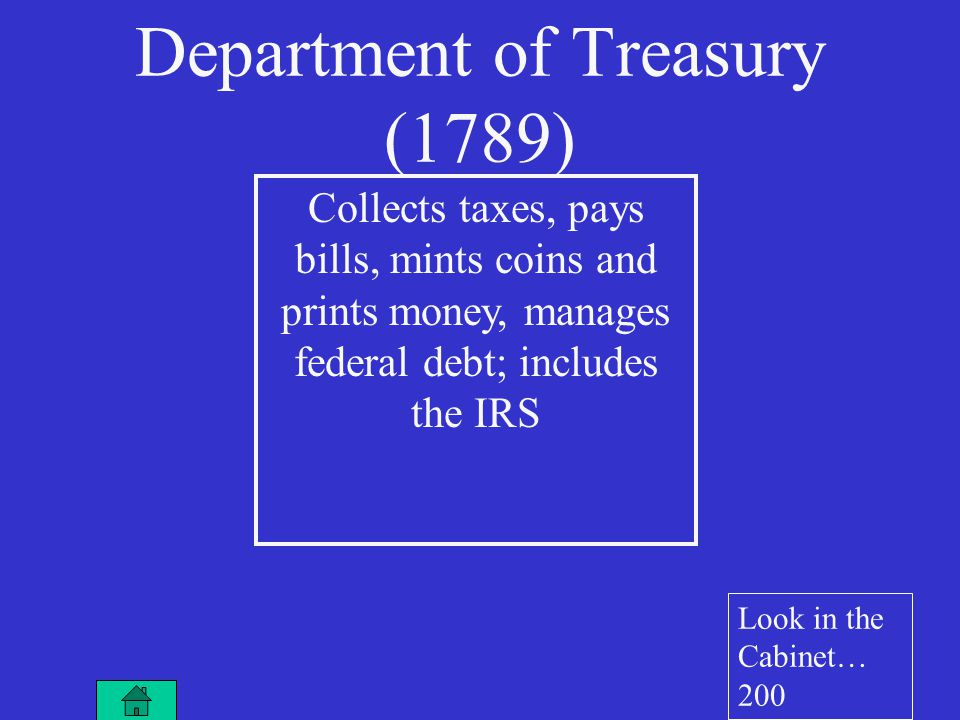 Collects taxes, pays bills, mints coins and prints money, manages federal debt; includes the IRS Department of Treasury (1789) Look in the Cabinet… 200
