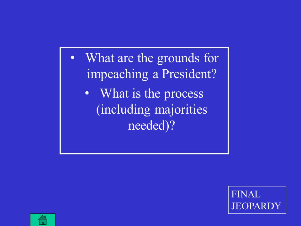 What are the grounds for impeaching a President. What is the process (including majorities needed).