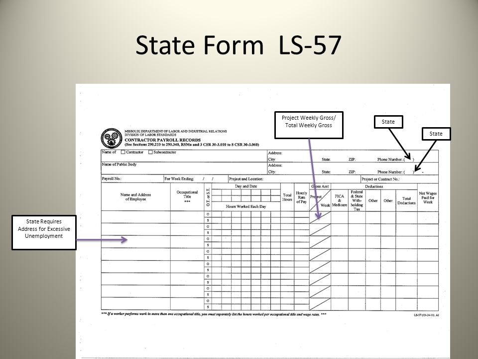 State Form LS-57 15 Project Weekly Gross/ Total Weekly Gross State State Requires Address for Excessive Unemployment