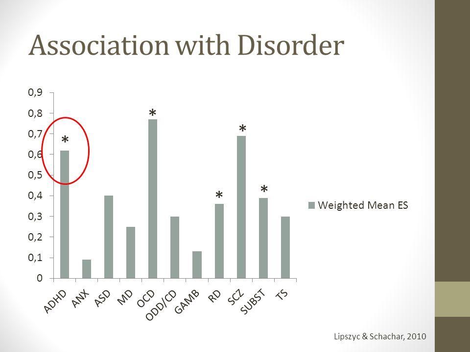 Association with Disorder Lipszyc & Schachar, 2010 * * * * *