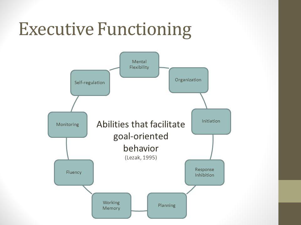 Abilities that facilitate goal-oriented behavior (Lezak, 1995) Executive Functioning