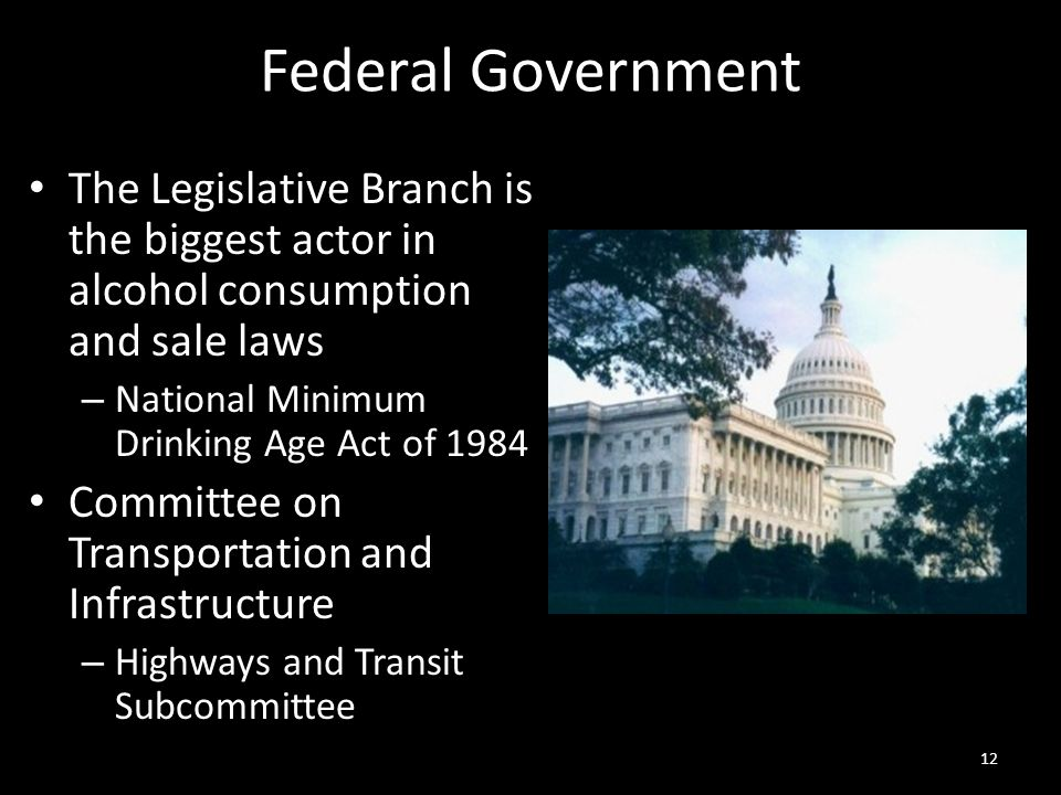 Federal Government The Legislative Branch is the biggest actor in alcohol consumption and sale laws – National Minimum Drinking Age Act of 1984 Committee on Transportation and Infrastructure – Highways and Transit Subcommittee 12