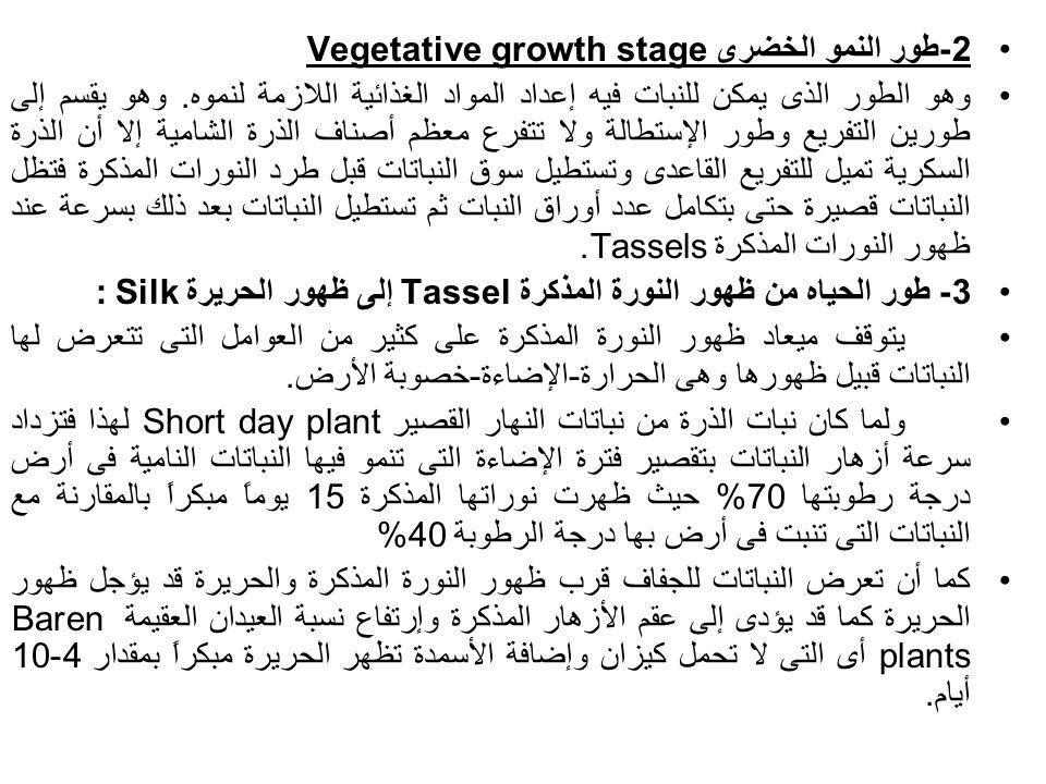 2-طور النمو الخضرى Vegetative growth stage وهو الطور الذى يمكن للنبات فيه إعداد المواد الغذائية اللازمة لنموه. وهو يقسم إلى طورين التفريع وطور الإستطا