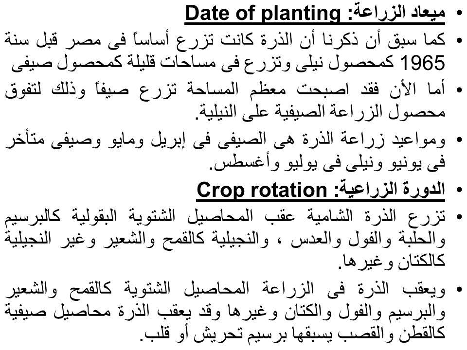 ميعاد الزراعة: Date of planting كما سبق أن ذكرنا أن الذرة كانت تزرع أساساً فى مصر قبل سنة 1965 كمحصول نيلى وتزرع فى مساحات قليلة كمحصول صيفى أما الأن