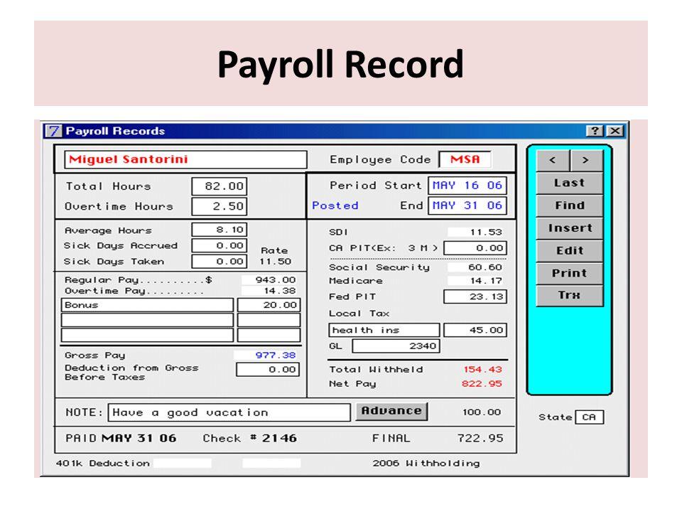 Payroll Record