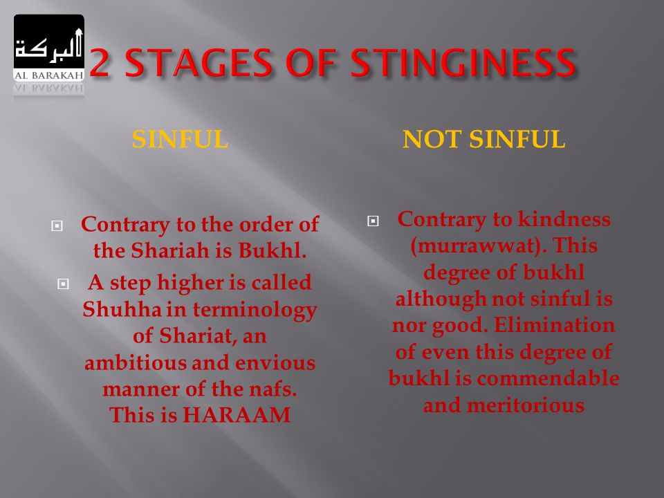 SINFULNOT SINFUL  Contrary to the order of the Shariah is Bukhl.