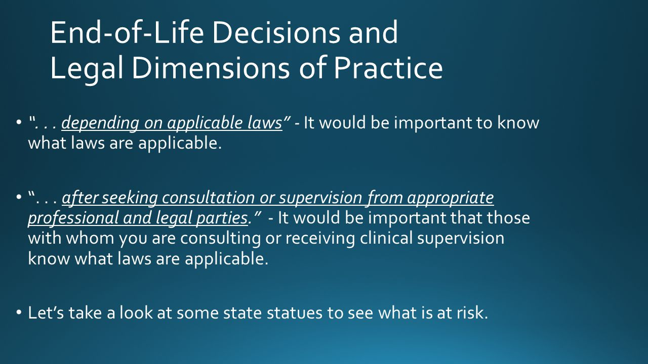 """... depending on applicable laws"" - It would be important to know what laws are applicable. ""... after seeking consultation or supervision from appro"