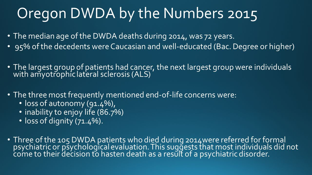 Oregon DWDA by the Numbers 2015 The median age of the DWDA deaths during 2014, was 72 years. 95% of the decedents were Caucasian and well-educated (Ba