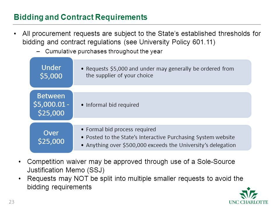 Bidding and Contract Requirements All procurement requests are subject to the State's established thresholds for bidding and contract regulations (see