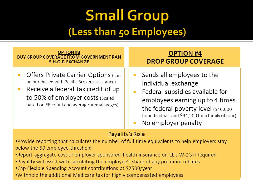 OPTION #3 BUY GROUP COVERAGE FROM GOVERNMENT RAN S.H.O.P. EXCHANGE  Offers Private Carrier Options (can be purchased with Pacific Brokers assistance)
