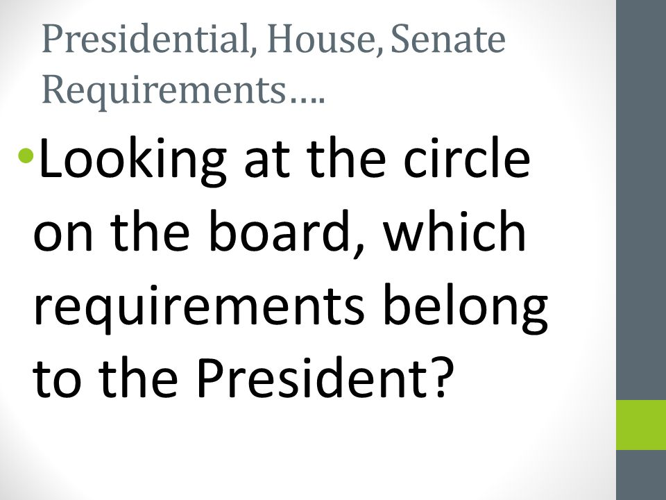 Presidential, House, Senate Requirements…. Looking at the circle on the board, which requirements belong to the President?