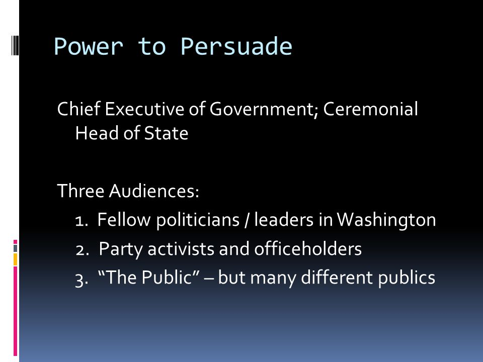 Power to Persuade Chief Executive of Government; Ceremonial Head of State Three Audiences: 1.