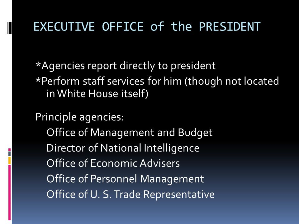 PRESIDENTS CABINET Fifteen executive branch departments of the federal government Abundance of political appointments NOTE the Cabinet Departments