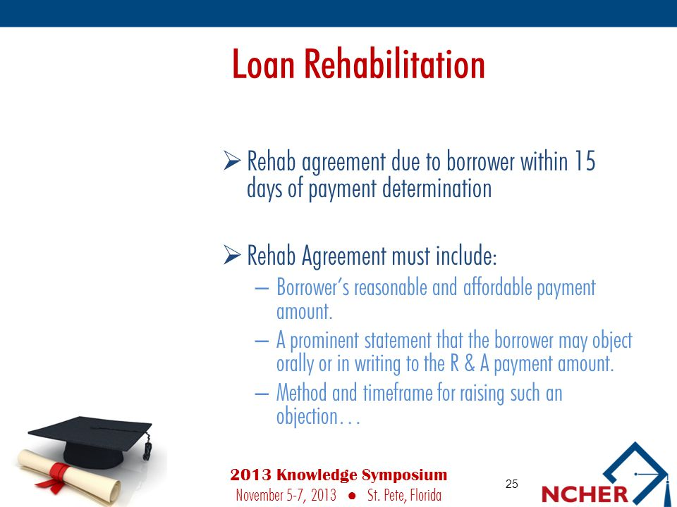 Loan Rehabilitation  Rehab agreement due to borrower within 15 days of payment determination  Rehab Agreement must include: – Borrower's reasonable and affordable payment amount.