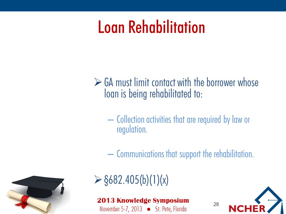 Loan Rehabilitation  GA must limit contact with the borrower whose loan is being rehabilitated to: – Collection activities that are required by law or regulation.