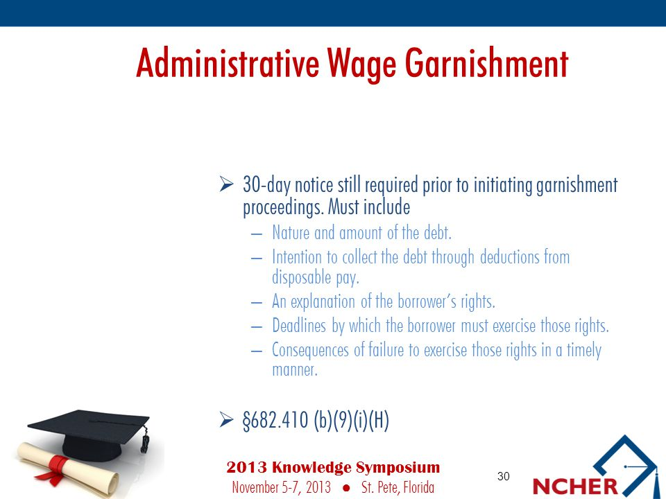 Administrative Wage Garnishment  30-day notice still required prior to initiating garnishment proceedings.