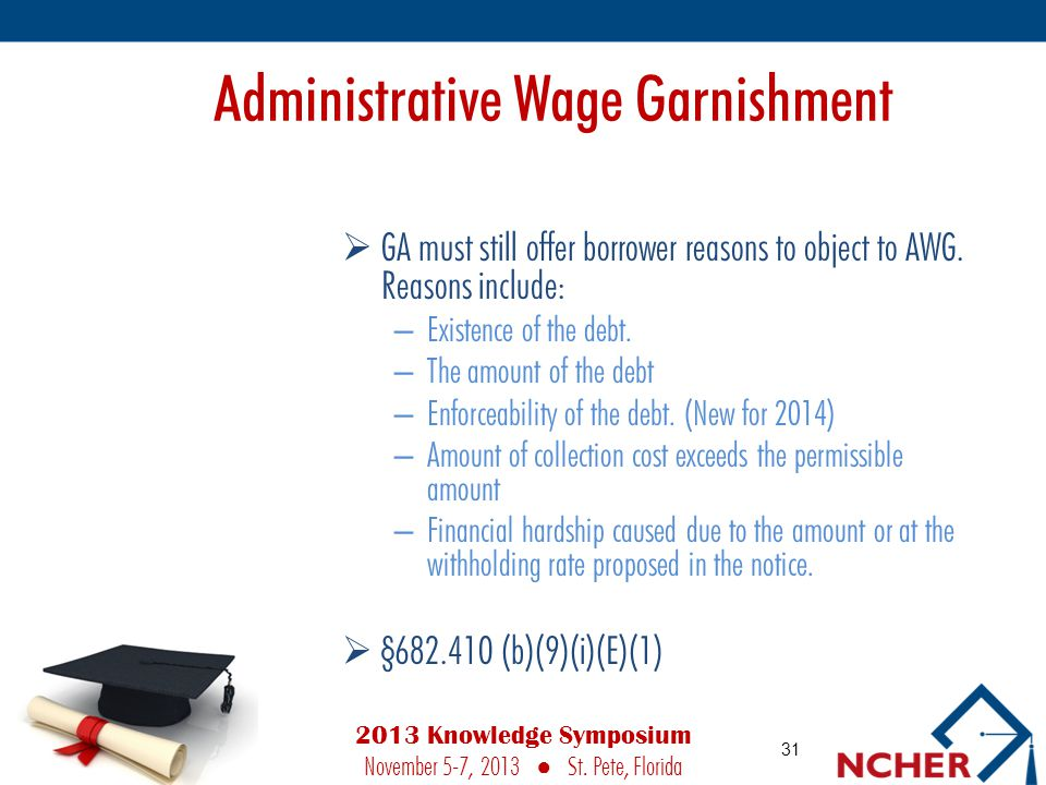 Administrative Wage Garnishment  GA must still offer borrower reasons to object to AWG.