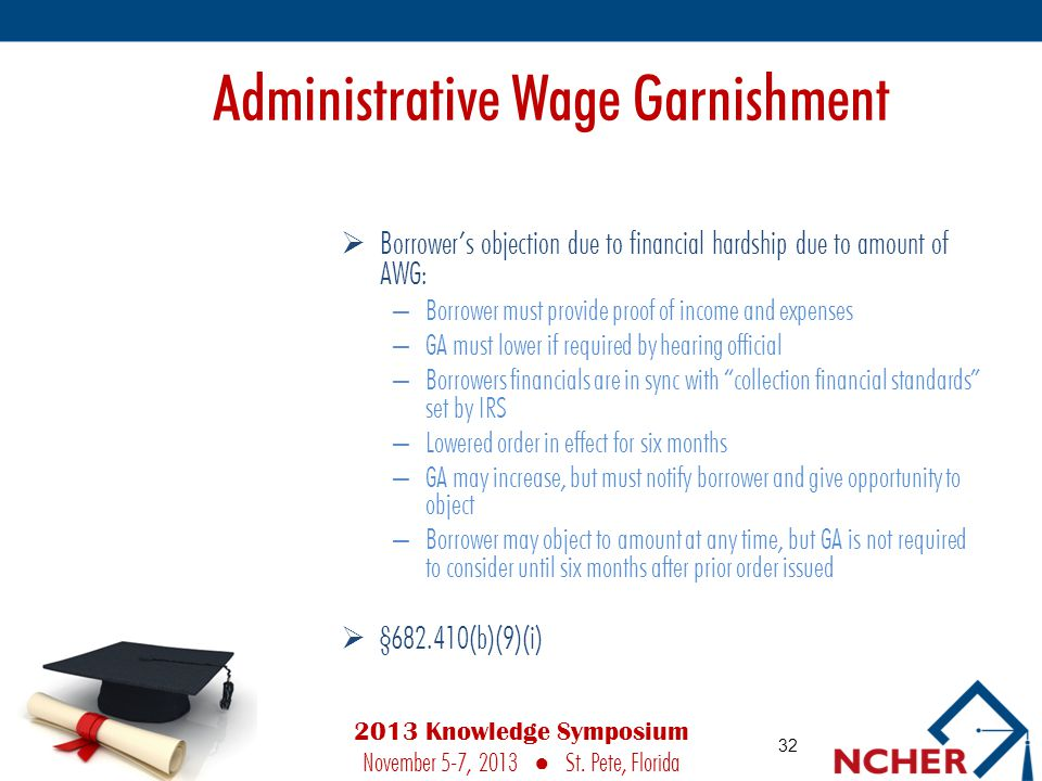 Administrative Wage Garnishment  Borrower's objection due to financial hardship due to amount of AWG: – Borrower must provide proof of income and expenses – GA must lower if required by hearing official – Borrowers financials are in sync with collection financial standards set by IRS – Lowered order in effect for six months – GA may increase, but must notify borrower and give opportunity to object – Borrower may object to amount at any time, but GA is not required to consider until six months after prior order issued  §682.410(b)(9)(i) 32 2013 Knowledge Symposium November 5-7, 2013 ● St.