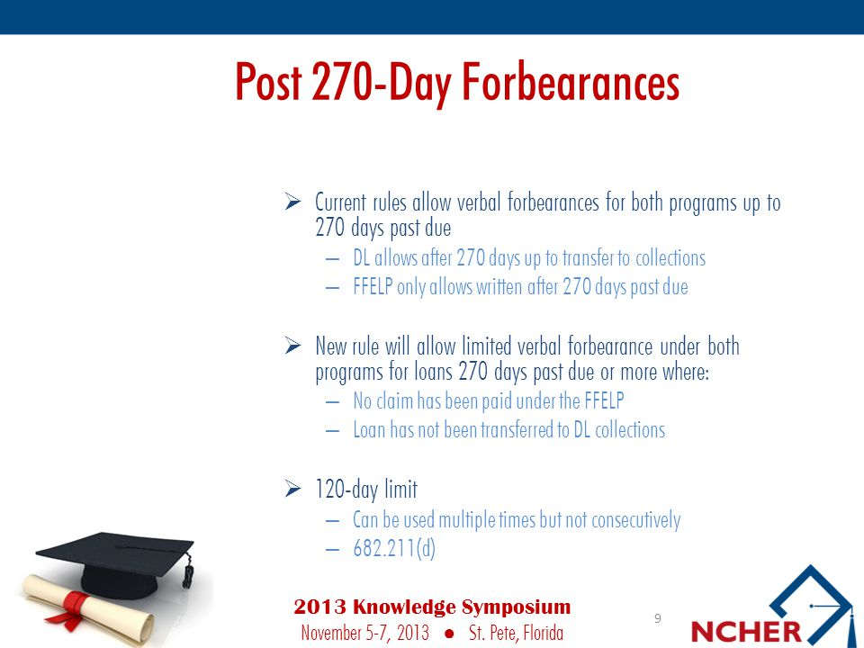 Post 270-Day Forbearances  Current rules allow verbal forbearances for both programs up to 270 days past due – DL allows after 270 days up to transfer to collections – FFELP only allows written after 270 days past due  New rule will allow limited verbal forbearance under both programs for loans 270 days past due or more where: – No claim has been paid under the FFELP – Loan has not been transferred to DL collections  120-day limit – Can be used multiple times but not consecutively – 682.211(d) 9 2013 Knowledge Symposium November 5-7, 2013 ● St.