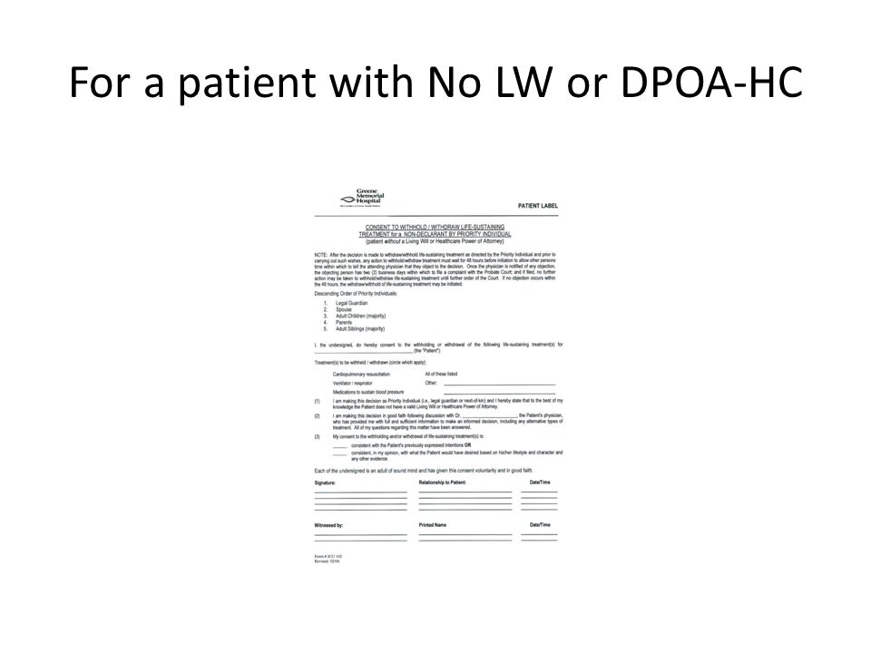 For a patient with No LW or DPOA-HC