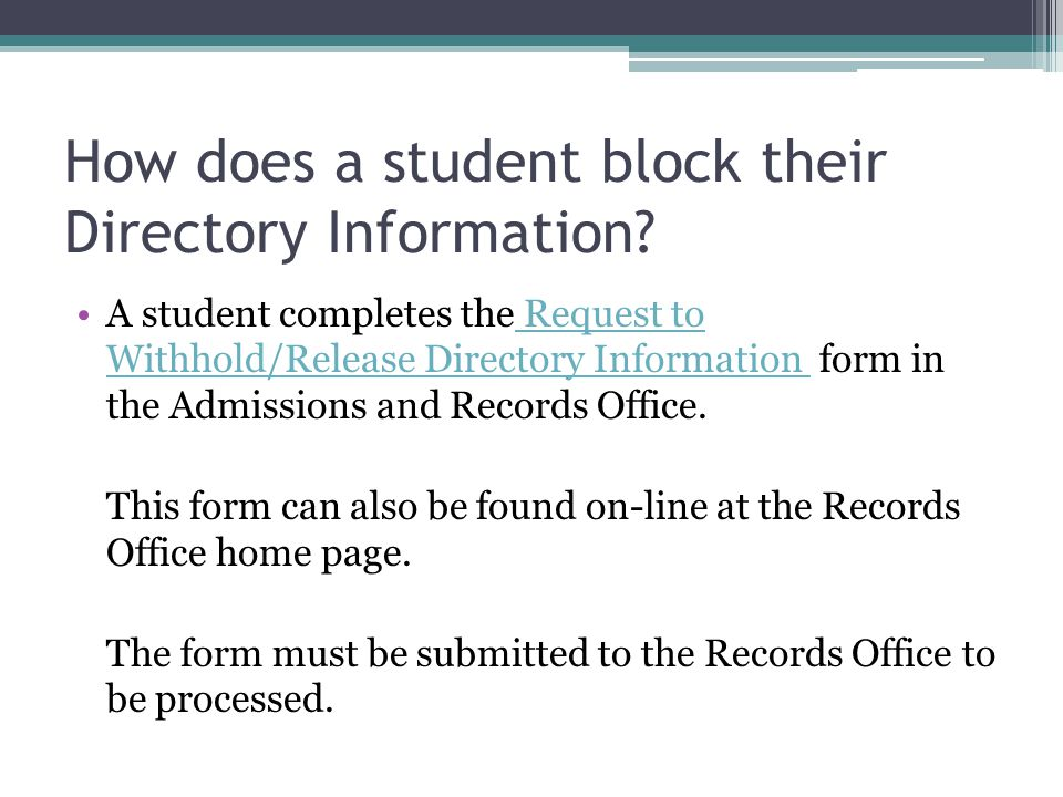 How does a student block their Directory Information.