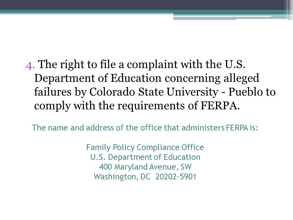 4. The right to file a complaint with the U.S.