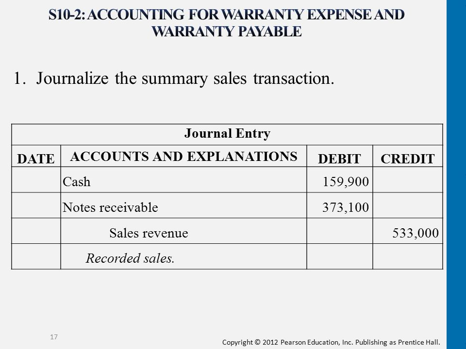 Copyright © 2012 Pearson Education, Inc. Publishing as Prentice Hall. 1.Journalize the summary sales transaction. 17 Journal Entry DATE ACCOUNTS AND E