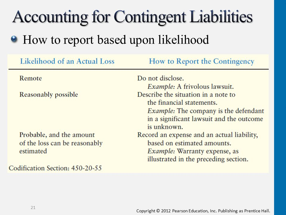 Copyright © 2012 Pearson Education, Inc. Publishing as Prentice Hall. How to report based upon likelihood 21