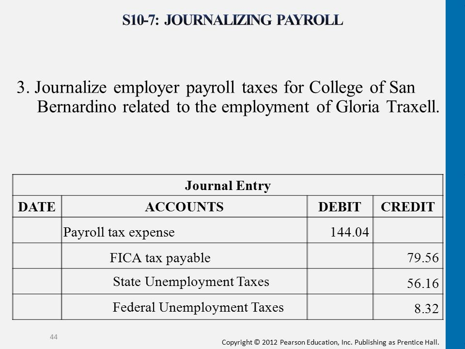 Copyright © 2012 Pearson Education, Inc. Publishing as Prentice Hall. 3. Journalize employer payroll taxes for College of San Bernardino related to th
