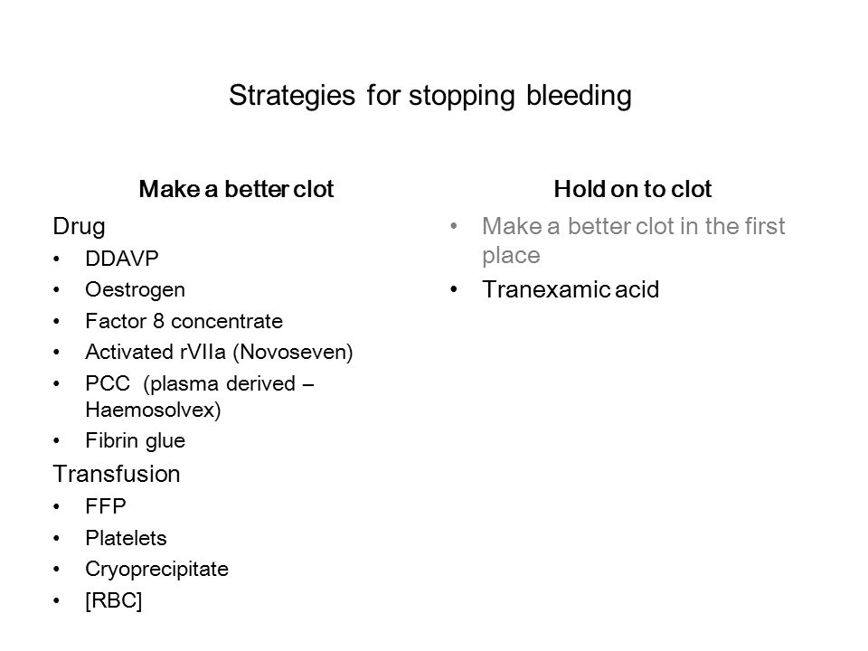 n Make a better clot Drug DDAVP Oestrogen Factor 8 concentrate Activated rVIIa (Novoseven) PCC (plasma derived – Haemosolvex) Fibrin glue Transfusion FFP Platelets Cryoprecipitate [RBC] Hold on to clot Make a better clot in the first place Tranexamic acid Strategies for stopping bleeding