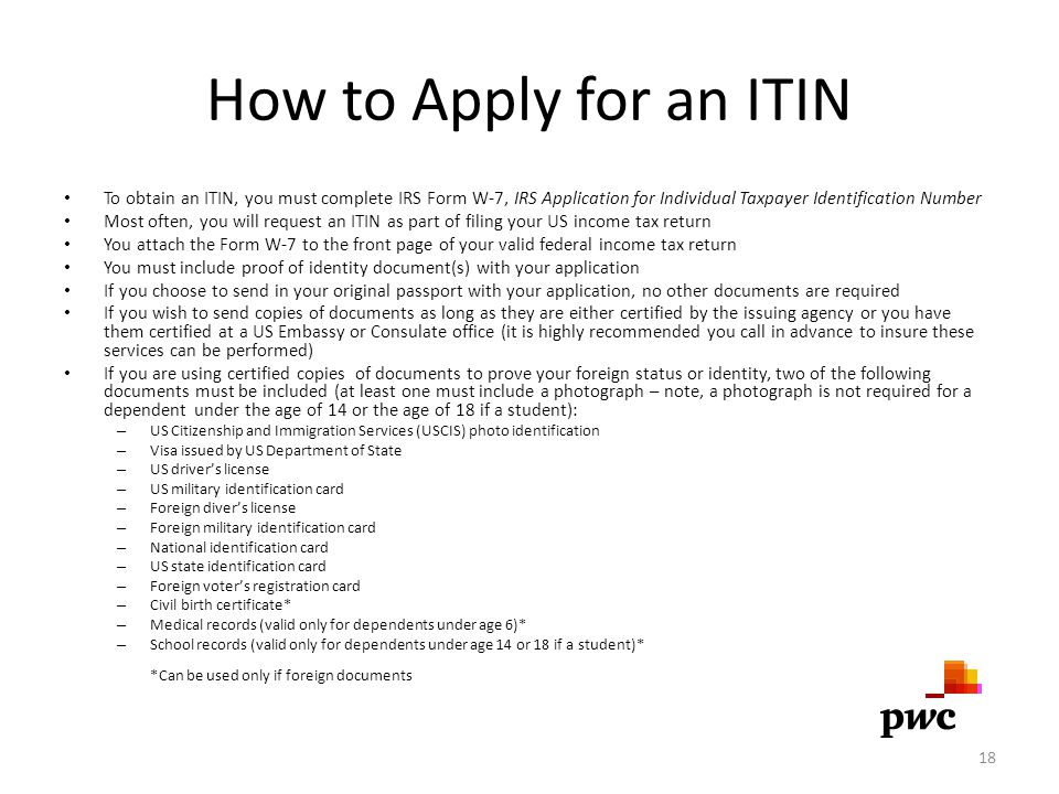 How to Apply for an ITIN To obtain an ITIN, you must complete IRS Form W-7, IRS Application for Individual Taxpayer Identification Number Most often,