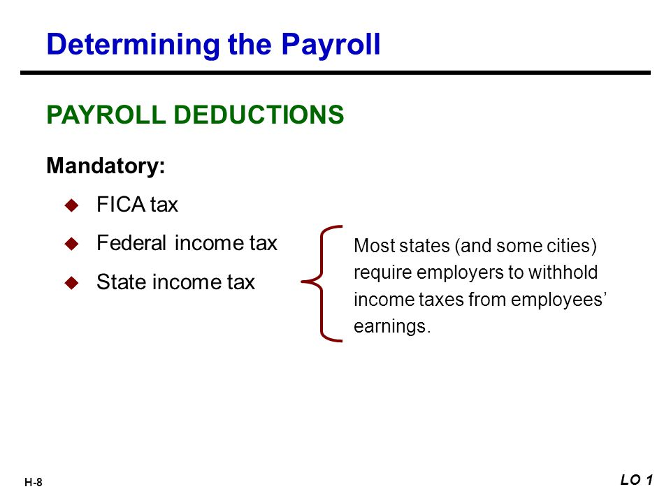 H-8 Most states (and some cities) require employers to withhold income taxes from employees' earnings. Determining the Payroll Mandatory:  FICA tax 