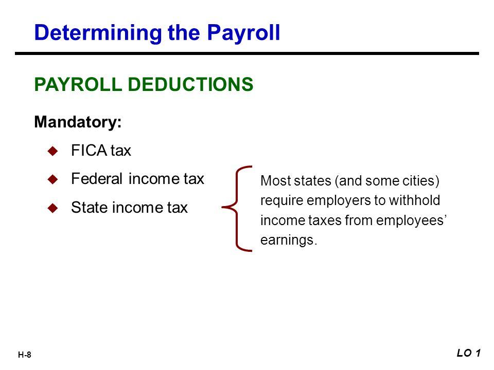 H-9 Gross earnings minus payroll deductions.