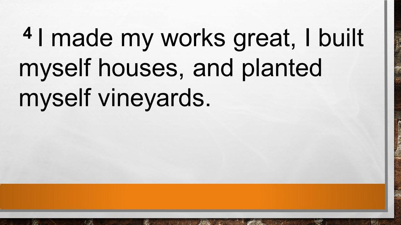 4 I made my works great, I built myself houses, and planted myself vineyards.