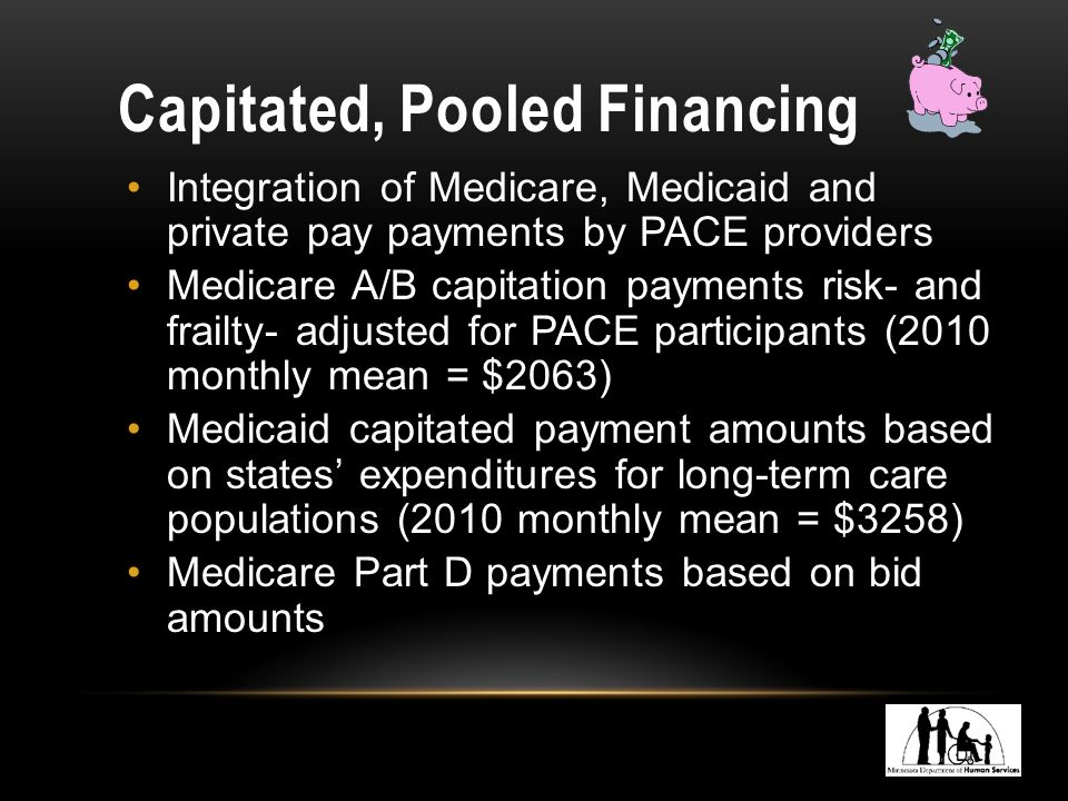 Capitated, Pooled Financing Integration of Medicare, Medicaid and private pay payments by PACE providers Medicare A/B capitation payments risk- and frailty- adjusted for PACE participants (2010 monthly mean = $2063) Medicaid capitated payment amounts based on states' expenditures for long-term care populations (2010 monthly mean = $3258) Medicare Part D payments based on bid amounts