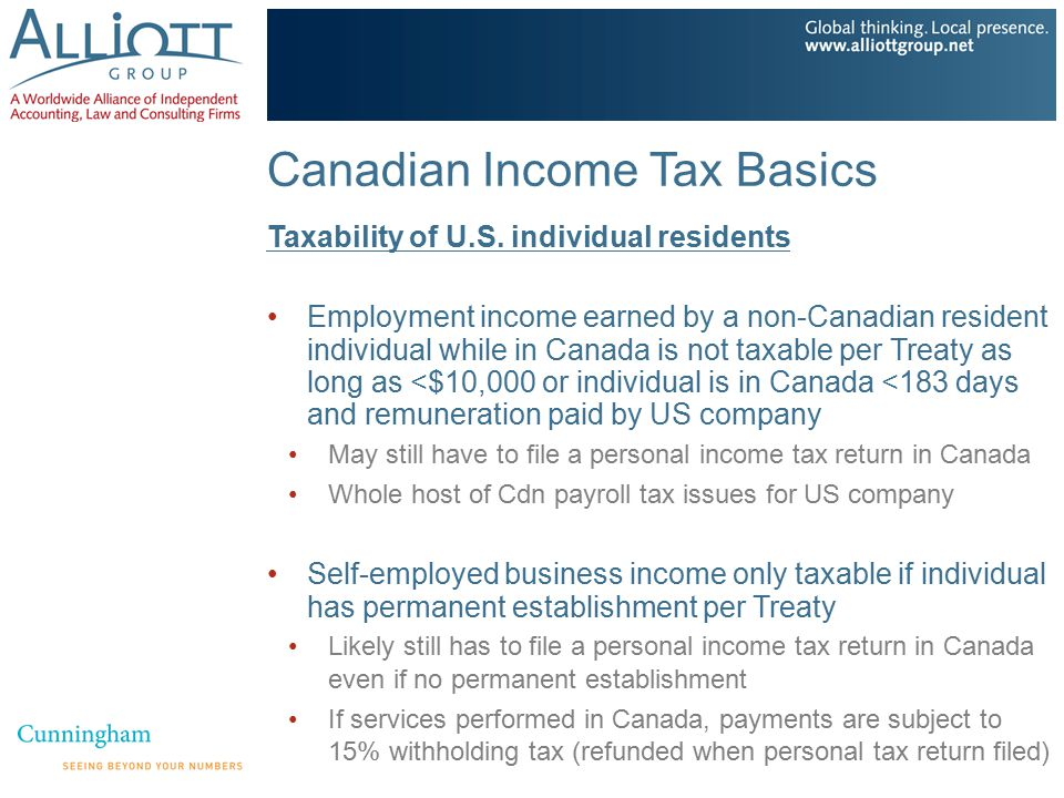 Canadian Income Tax Basics Taxability of U.S. individual residents Employment income earned by a non-Canadian resident individual while in Canada is n