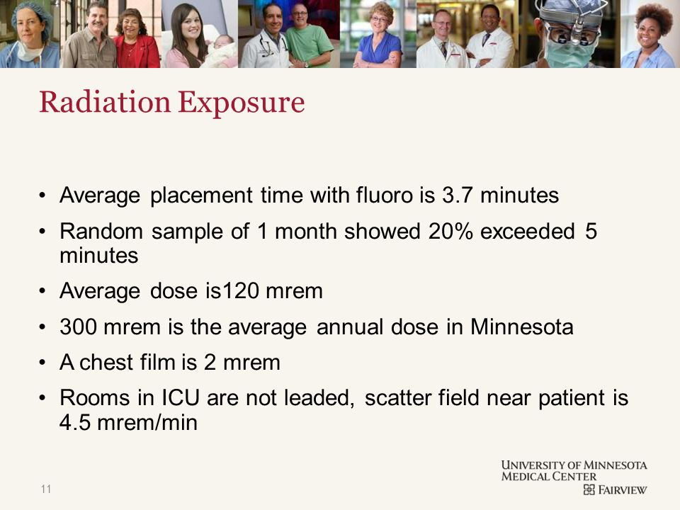 TITLE & CONTENT Radiation Exposure Average placement time with fluoro is 3.7 minutes Random sample of 1 month showed 20% exceeded 5 minutes Average dose is120 mrem 300 mrem is the average annual dose in Minnesota A chest film is 2 mrem Rooms in ICU are not leaded, scatter field near patient is 4.5 mrem/min 11