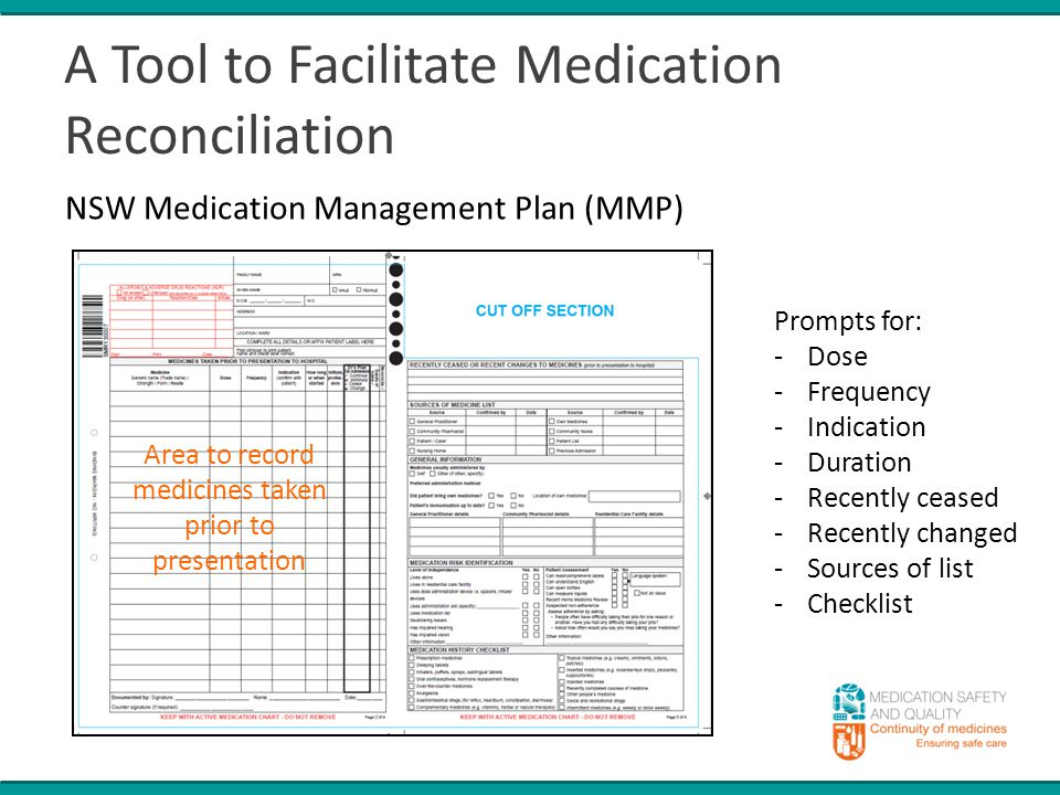 A Tool to Facilitate Medication Reconciliation NSW Medication Management Plan (MMP) Prompts for: -Dose -Frequency -Indication -Duration -Recently ceased -Recently changed -Sources of list -Checklist Area to record medicines taken prior to presentation