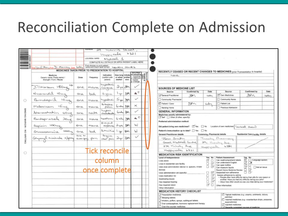 Reconciliation Complete on Admission Tick reconcile column once complete