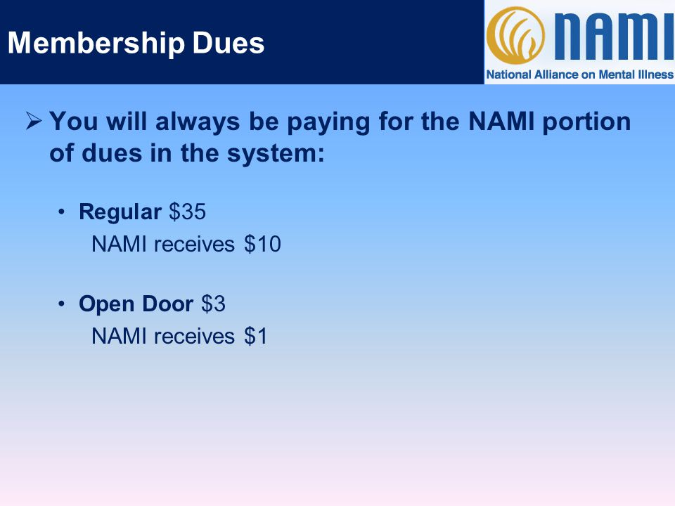 Membership Dues  You will always be paying for the NAMI portion of dues in the system: Regular $35 NAMI receives $10 Open Door $3 NAMI receives $1