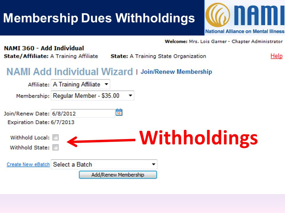 Withholdings Membership Dues Withholdings