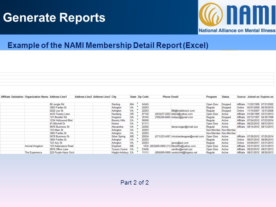 Generate Reports Example of the NAMI Membership Detail Report (Excel) Part 2 of 2