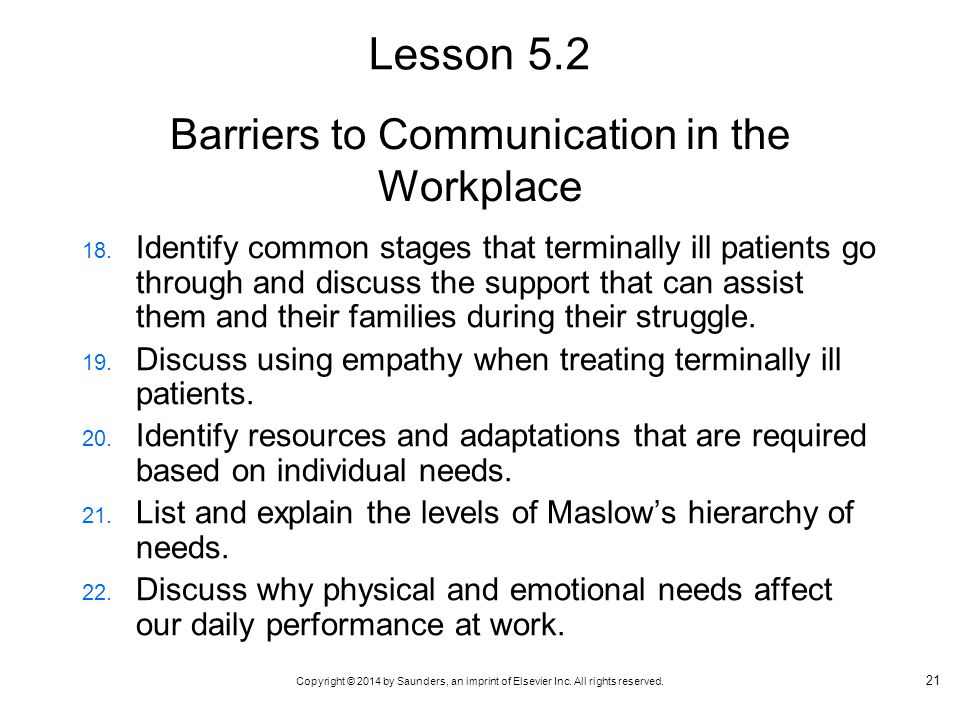 Copyright © 2014 by Saunders, an imprint of Elsevier Inc. All rights reserved. Barriers to Communication in the Workplace 18. Identify common stages t