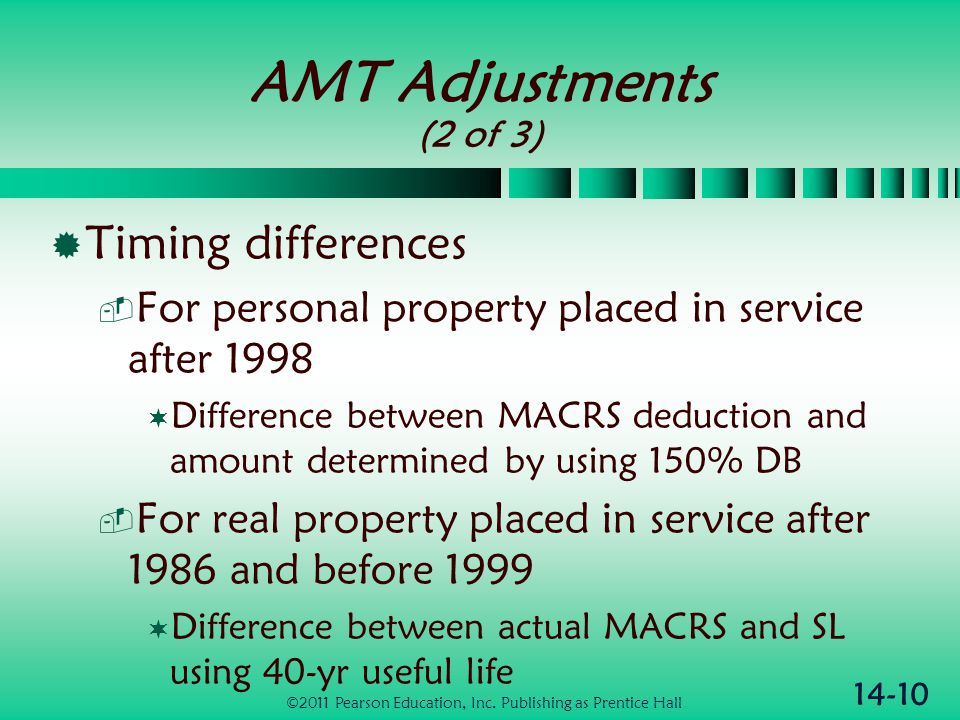 14-10 AMT Adjustments (2 of 3)  Timing differences  For personal property placed in service after 1998  Difference between MACRS deduction and amou
