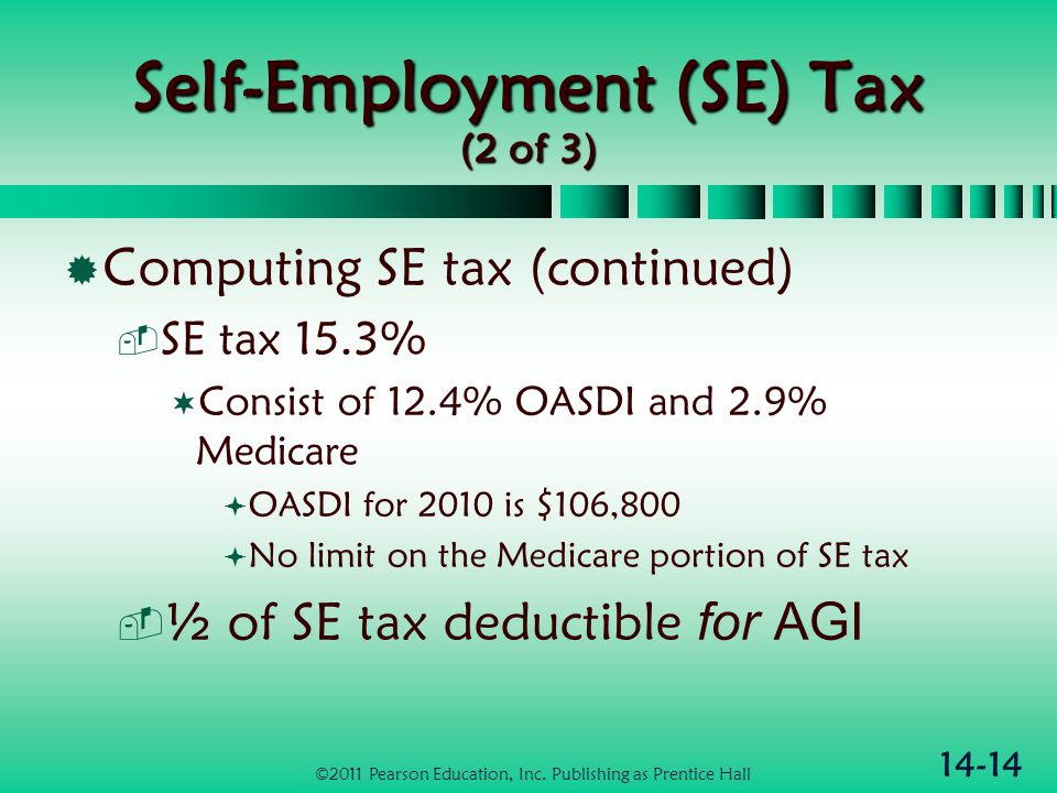 14-14 Self-Employment (SE) Tax (2 of 3)  Computing SE tax (continued)  SE tax 15.3%  Consist of 12.4% OASDI and 2.9% Medicare  OASDI for 2010 is $
